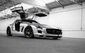 Picture tuning, Mercedes-Benz, door, silver, hangar, supercar, Mercedes, AMG, widescreen Wallpaper, SLS, tuning, Wheelsandmore, the front, …