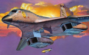 Picture the sky, aviation, the plane, bomb, B-1B