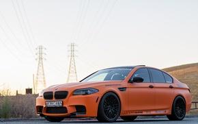 Picture the sky, bmw, BMW, front view, f10, Mat orange, orange matte