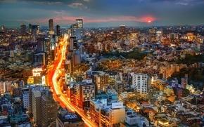 Wallpaper road, sunset, building, Japan, Tokyo, panorama, Tokyo, Japan, night city