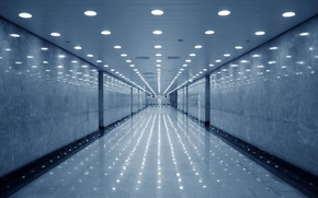 Picture void, reflection, corridor, lamps
