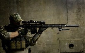 Wallpaper background, soldiers, optics, rifle, sniper