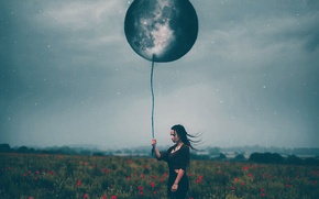 Picture girl, the moon, ball, Maki, stars, Amy Spanos