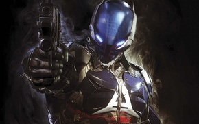 Picture gun, weapons, the barrel, armor, hologram, Warner Bros, Rocksteady Studios, Batman: Arkham Knight, Arkham Knight