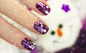 Picture macro, fingers, nails, manicure