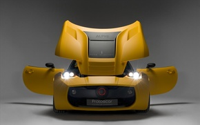 Picture lights, yellow, door, the hood, sports car, headlight