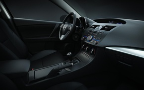 Picture auto, style, interior, black, salon, mazda 3