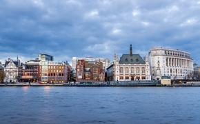 Wallpaper clouds, home, London, UK, overcast, the sky, promenade, river