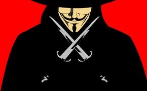 Wallpaper v for vendetta, daggers, Guy Fawkes, guy Fawkes, in vendetta, mask, daggers, mask