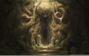 Wallpaper roots, forest, cave, characters, Stones, mystery, antiquity