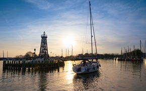 Picture yachts, morning, pier, Netherlands, harbour, Enkhuizen