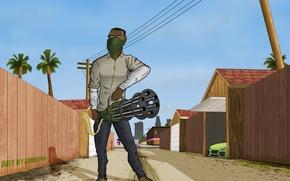 Picture weapons, minigun, Franklin, GTA V, Franklin, minigun