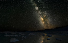 Picture stars, mountains, night, lake, The milky way
