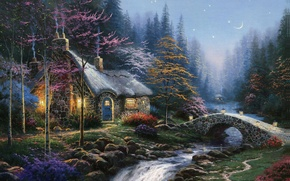 Wallpaper autumn, forest, river, the moon, stars, ate, lights, twilight, painting, the bridge, cottage, birch, Thomas ...