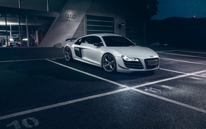 Picture Audi, Dark, Front, Night, White, Supercar, Automotive