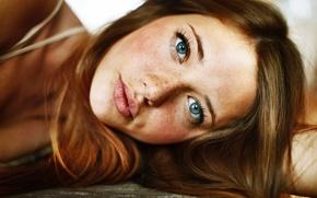 Picture girl, model, freckles, blue eyes