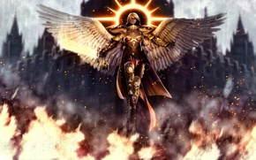 Picture girl, fantasy, fire, the game, wings, angel, sword, armor, Cathedral, armor, chain, Warhammer 40000, halo, ...