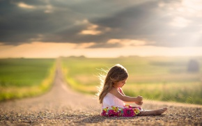 Wallpaper girl, bokeh, child, the sun, road, dress, space
