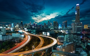 Picture the sky, night, clouds, bridge, movement, building, road, home, skyscrapers, The city, excerpt, lighting