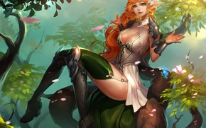 Picture look, leaves, trees, branches, nature, pose, art, elf, fantasy