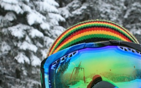 Picture winter, color, snow, style, snowboard, hat, glasses