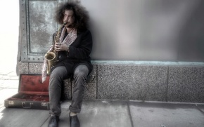 Picture music, street, musician, saxophone