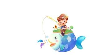 Picture fishing, fish, boy, art, rod, children's