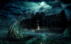 Picture castle, Night, the full moon, damn place