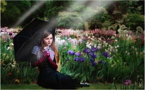Picture summer, girl, trees, flowers, retro, black, figure, graphics, picture, umbrella, garden, dress, gloves, brown hair, …