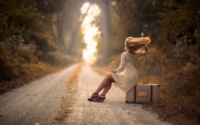 Picture road, girl, the wind, suitcase