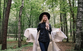 Picture girl, trees, face, hair, hat, fabric, walk