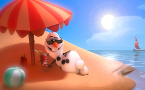 Picture the sky, the sun, boat, island, umbrella, glasses, cocktail, sail, snowman, cold heart, Olaf on …