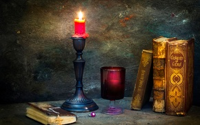 Picture books, candle, cross, A picture of the past