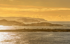 Picture summer, sunset, seascape, Ireland, lighthouse, islands, Donegal