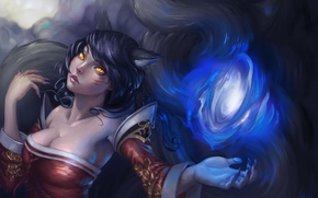 Picture Girl, Fox, Magic, League of Legends, Ahri, Tail, Ears, Nine-Tailed Fox