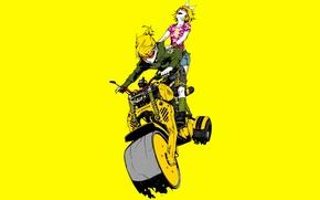 Picture girls, minimalism, glasses, motorcycle, yellow background, Creek, fun