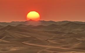 Picture the sun, sunset, desert, barkhan, UAE, Abu Dhabi