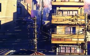 Picture summer, street, posts, wire, Windows, home, 5 centimeters per second, art, makoto shinkai, 5 centimetrs …