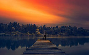 Picture lake, man, reflection, pier, sunlight, long exposure