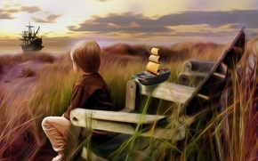 Picture sea, grass, toy, ship, child, sailboat, chair, boy, art