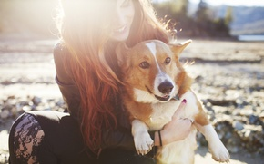 Picture girl, dog, red, smiling