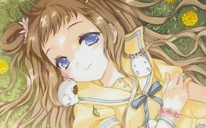 Picture grass, flowers, anime, art, girl, bracelet, dandelions, bow, cuteg, hamsters