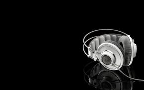 Wallpaper white headphones, White headphones, reflection