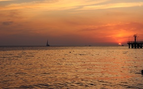 Picture sea, sunset, sail