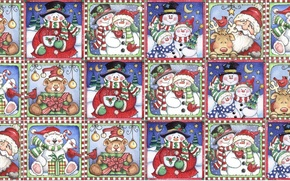 Wallpaper mood, holiday, gift, texture, New year, snowman