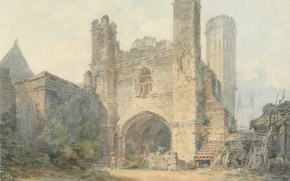 Picture landscape, tower, picture, gate, watercolor, William Turner, Saint Augustine's Gate, Canterbury