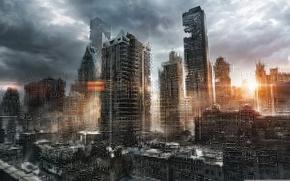 Picture the sun, clouds, the city, sunrise, skyscrapers, destruction, Apocalypse