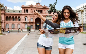 Picture the city, smile, girls, map, laughter, walk