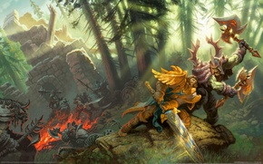 Wallpaper Forest, Paladin, Warrior, Fight, Paladin, WoW, World of Warcraft