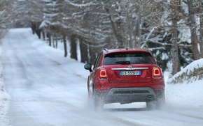 Picture Red, Winter, Fiat, Cross, 500X, (2015), Backview